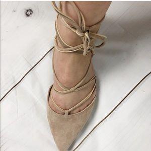 Vince Camuto Shoes - Vince Camuto lace up suede nude flats sz 7.5